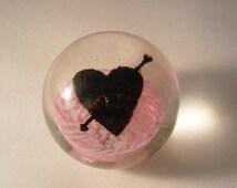 Oglebay Wheeling West Virginia Blown Glass Paperweight. Heart With Arrow