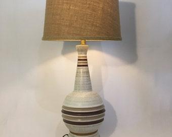 Mid-century Modern Ceramic Table Lamp Stripes Brown Beige