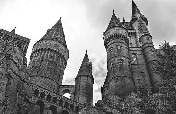 Hogwarts Castle, Black and White Photography, Gothic Home Decor ...