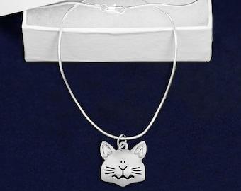 Cat Face Shaped Charm Necklace (Retail) (RE-PPN-03-P)