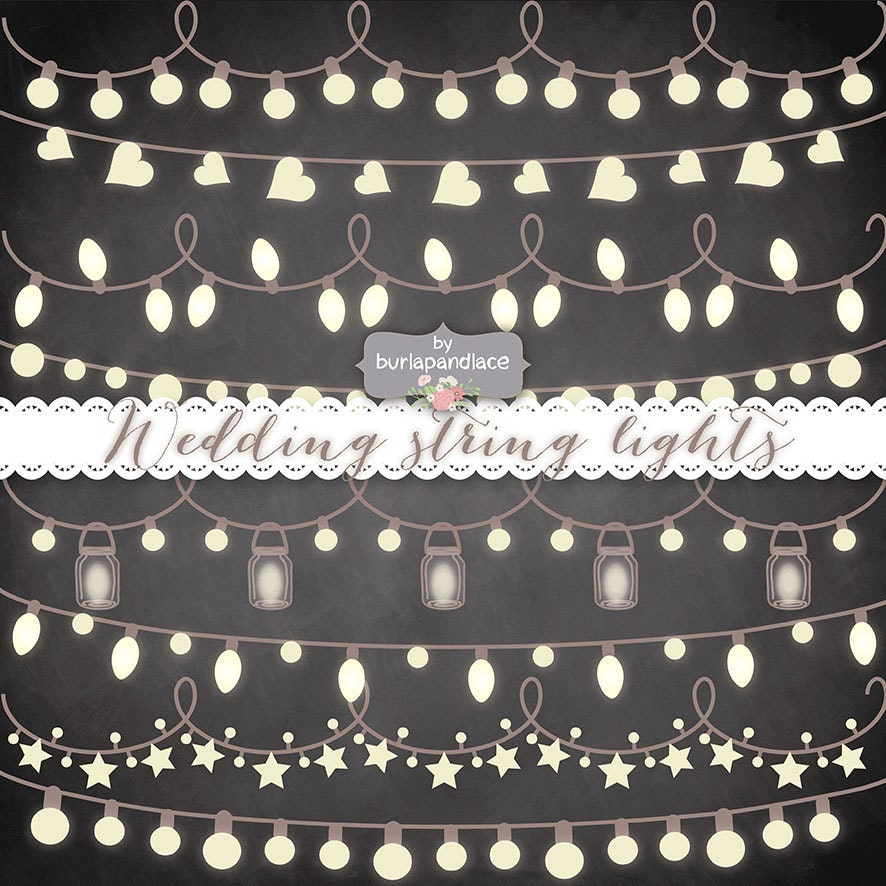 String Lights Svg : Chalkboard String Lights Clipart wedding invitation Clipart
