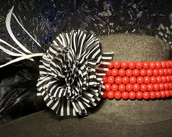 Red beaded choker w/ fabric flower,statement piece, multi-strand necklace, beadwork