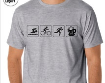Funny sports t-shirt. Triathlete. Swim Bike Run Beer Symbols. Men's or Women's Styles