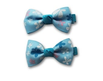 Blue bow clip, flowers baby hair bow, little hair clip, bow accessories