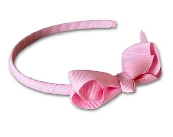 pink petite bow headband, Bow Headband, Girls Headband, toddler headband