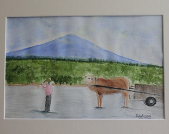 Villagers life - cultural watercolor painting, 9x12 inches, mat 11x14 inches, not framed
