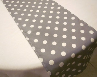 Gray and White Polka Dot Table Runner, Birthday,  Wedding, Bridal Shower, Baby Shower, Graduation