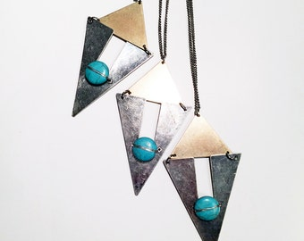 Triangle fringe pendant necklace with turquoise stone