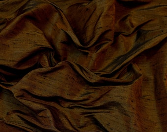 "Iridescent Toffee Brown Dupioni Silk, 100% Silk Fabric, 54"" Wide, By The Yard (S-265)"