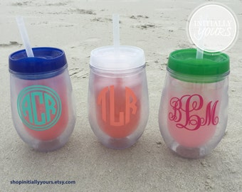 Bev2go Personalized Monogram Stemless Wine Tumbler, Personalized Wine Cup, Custom Wine Tumbler, Monogram Wine Gift, Wine Tumbler with Straw