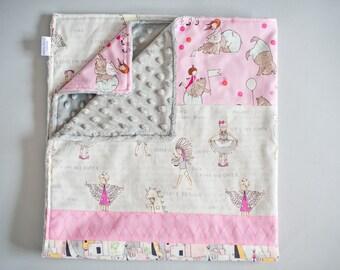 Minky Baby blanket, Modern Handmade blanket, Let's Pretend, Grey Minky dot, Pink, Michael Miller, Little Girl Blanket, Make believe blanket