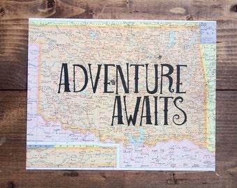 "Oklahoma Map Print, Adventure Awaits, Great Travel Gift, 8"" x 10"" Letterpress Print"
