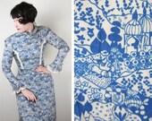 ORIENTAL landscape print 70s NOVELTY dress Arabian Nights Flying carpets high neck prairie victorian cut maxi gown S