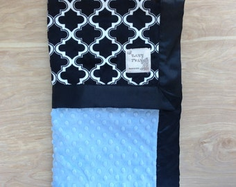 Black and White Cabanna with Aqua Baby Blanket