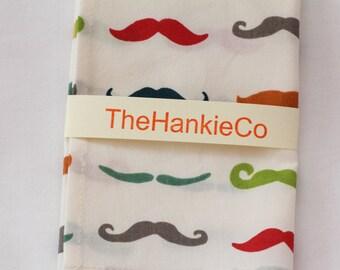 Organic cotton handkerchief with a colourful moustache design