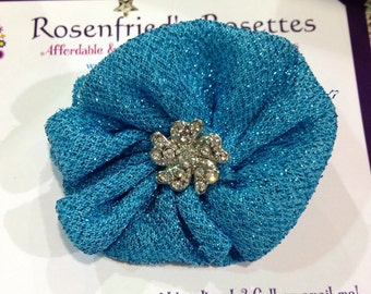Hand sewn fabric flower in turquoise
