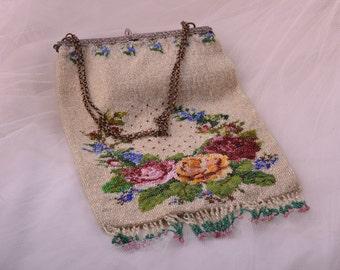 Beaded Victorian Purse / Handbag (908y59)