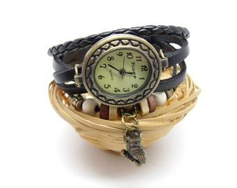 wrist watch with leather bracelet chain, owl charm