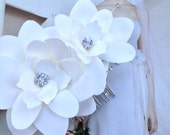 Headpiece, Bridal Comb, Off-white Floral Bridal Comb with Rhinestones