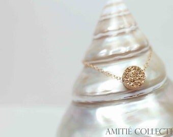 Gold Druzy Bracelet - Natural Druzy Jewelry - Drusy Bracelet Jewelry - Round Drusy Stone - Gold Filled Chain