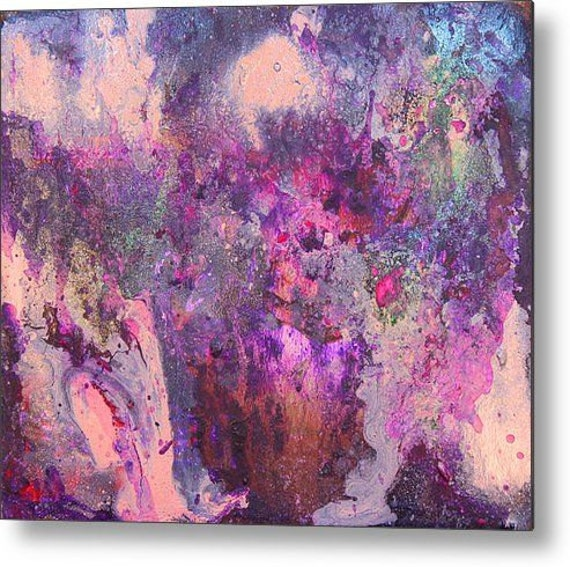 Art Abstract Print Lilac Purple Painting Silver By