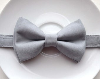 B096 Lovely Light Gray bow tie For baby/Toddler/Teen/Adult/with Adjust strap/Clip on