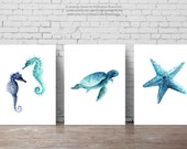 Nautical Set of 3, Seahorses, Seaturtle, Starfish, Blue Decor, Oceanic Creatures Wall art, Kids room decor, Giclee prints