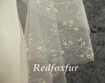 Hand-beaded cathedral veil, pearl ivory veil, wedding veil, bridal veil, cathedral wedding veil, wedding headpiece