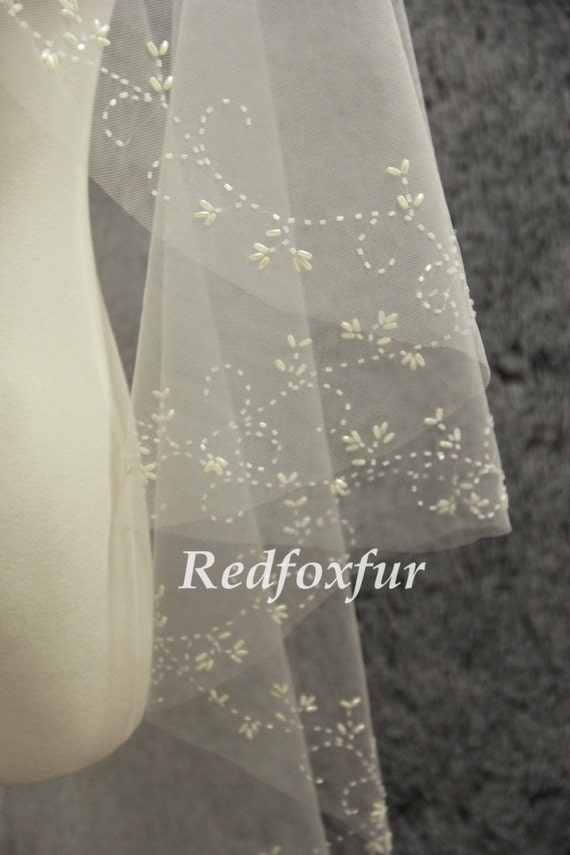 Hand Beaded Cathedral Veil Pearl Ivory Veil Wedding Veil