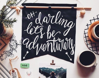 Wall hanging, oh darling let's be adventurers, leather banner, fiber art, Christmas gift for adventurers, wanderlust, life of adventure