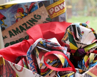 Origami Recycled Wall Paper Christmas Ornament/ Large Sized - Comic Strip/ Superhero Wallpaper