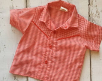 Red and white gingham button down western-look or Old McDonald Farmer shirt 12 months