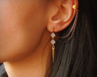 Spike earrings, Ear cuff earrings with crystal beads, Chain ear cuff earrings, Spike drop earrings