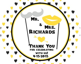 Wedding Personalized Labels, Bridal Shower Label Party Favor, Mr & Mrs Thank You Wedding Labels