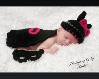 Batgirl Baby crochet photo prop