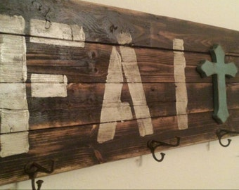 Unique FAITH wall decor - reclaimed wood sign with hooks