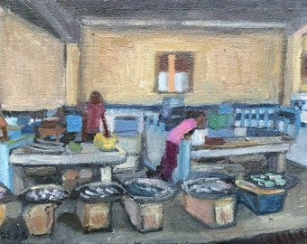 Fish Market 1, 5 x 7 in, oil on canvas, 2015
