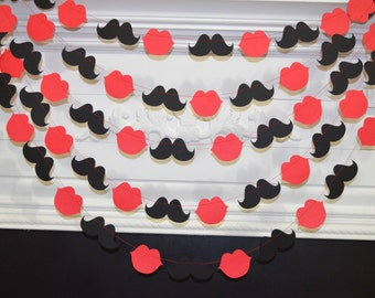 Lips and mustaches garland, hot lips banner, pucker lips decoration, Valentines day decor, hot red lip pink lips decor