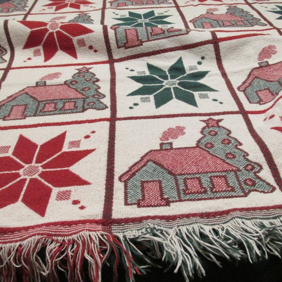 items similar to on sale christmas tapestry throw blanket red and green snowflakes an houses. Black Bedroom Furniture Sets. Home Design Ideas