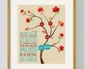 """DIGITAL Family tree and house rules framed art. Muslim Anniversary gift, Islamic reminders. 11 3/4 x15 3/4"""""""
