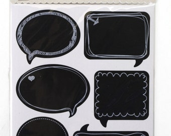 4 sheets Chalkboard Label 6 assorted stickers with borders total 24 stickers . Great for primitive packing, decorations, crafts. (CBL9173)