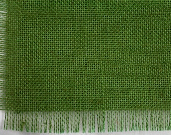 "Apple Green Burlap Table Topper 48""x48"" with fringe, fine weave, rustic country weddings, home decor. Available in other colors.(BF-T60)"