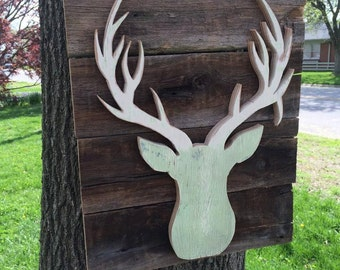 Reclaimed wood cutout deer head antler sign | Rustic nursery deer decor