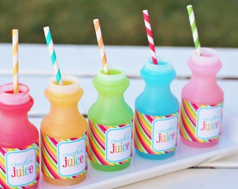 Creative Juice - Rainbow Art Party printable bottle wraps- Instant Download