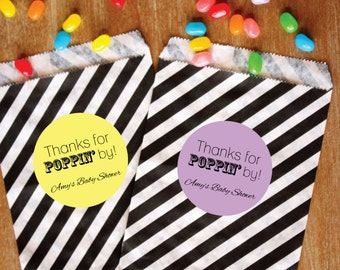 Candy Buffet Favor Bags Personalized Paper Treat Bags Black and White Striped Bags set of Favors Bridal Shower Baby Shower Favor Stickers