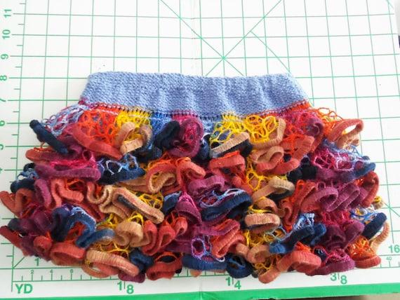 Baby or Toddler ruffled skirt. Multicolor with velvet trim