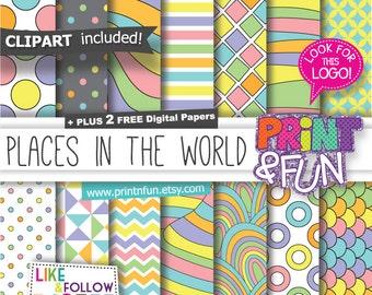 Digital Paper Patterns Backgrounds Scrapbooking