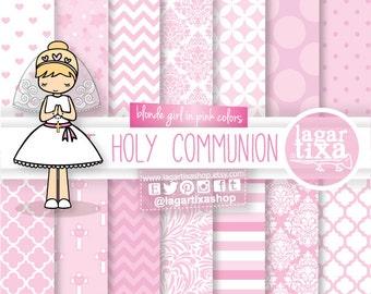 First Holy Communion Digital Paper Clip art Pink  Blonde Chevron Hearts Baptism