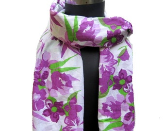 Multicolored,floral, long, lace scarf/ stole in cotton fabric.