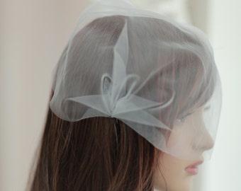 Bridal Birdcage Veil, Tulle Birdcage Blusher Veil----v205